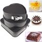 3件套方形圆形心形金属不粘生日蛋糕模具活底带扣金属蛋糕模具